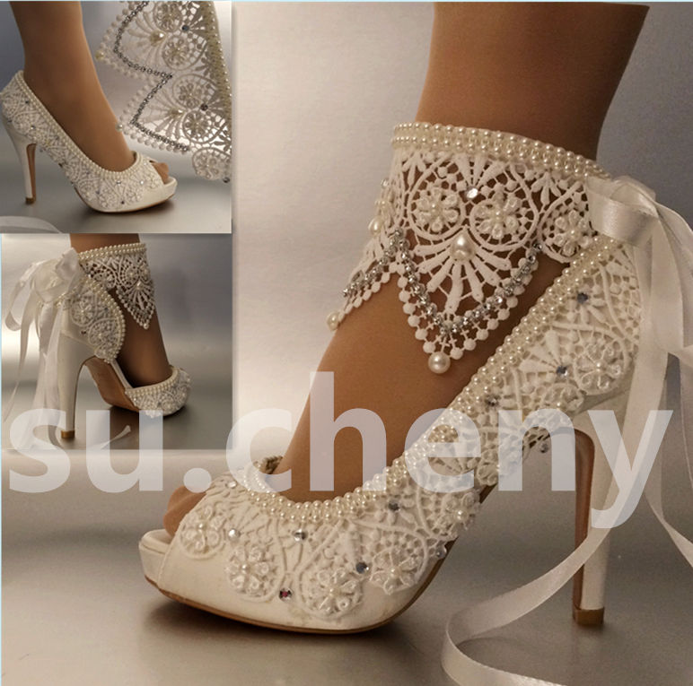 Wide width ivory wedding shoes