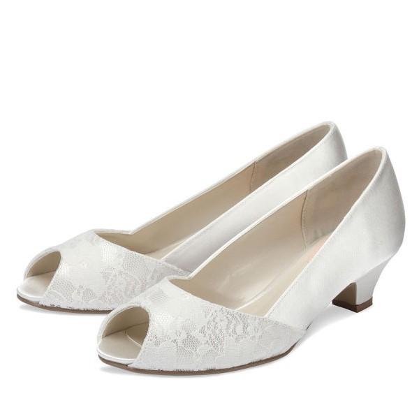 Wide width wedding shoes low heel