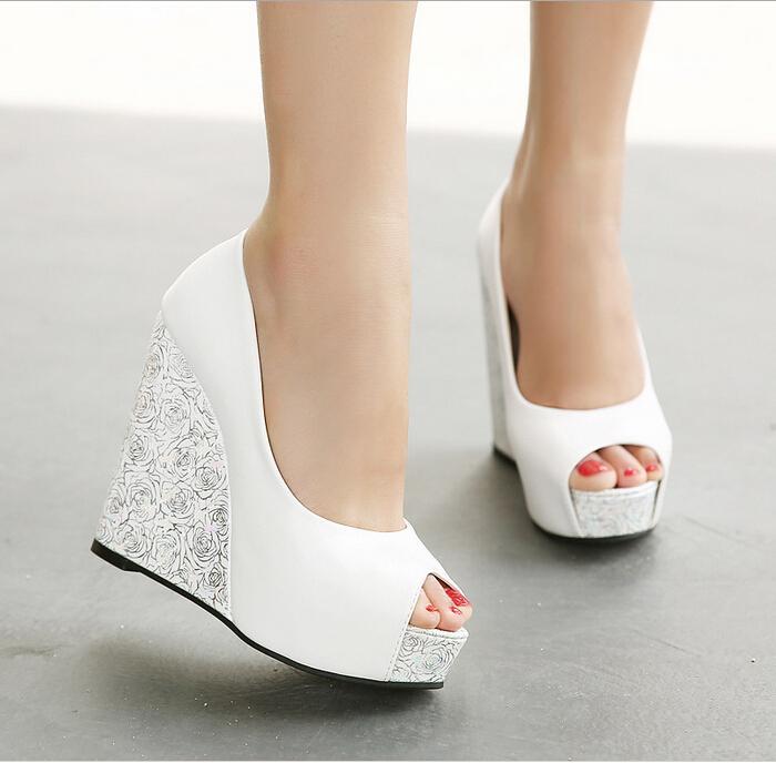 4 inch wedge wedding shoes photo - 1