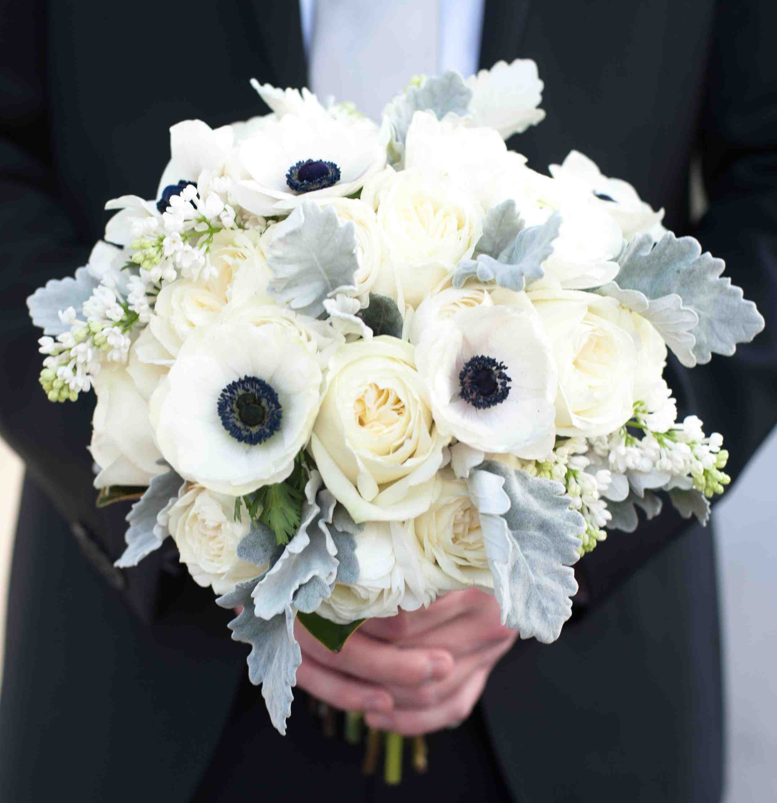 anemone bouquets wedding photo - 1