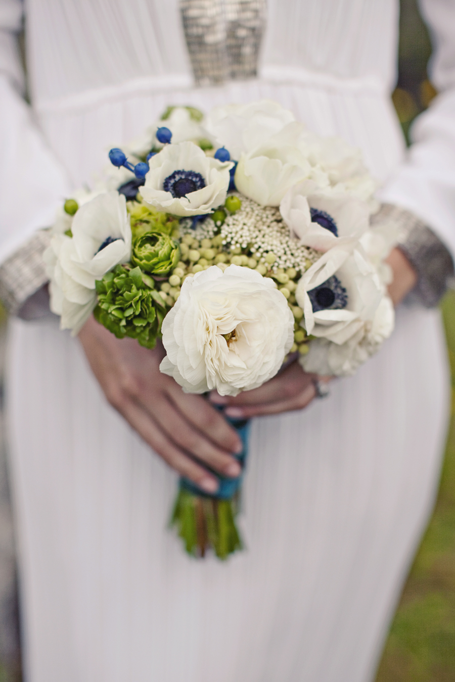 baby blue and white wedding bouquets photo - 1