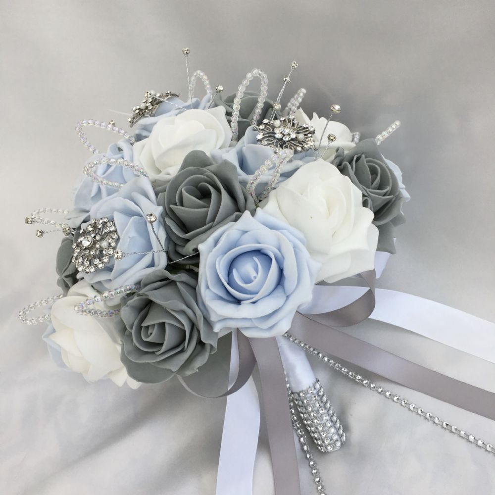 baby blue wedding bouquets photo - 1