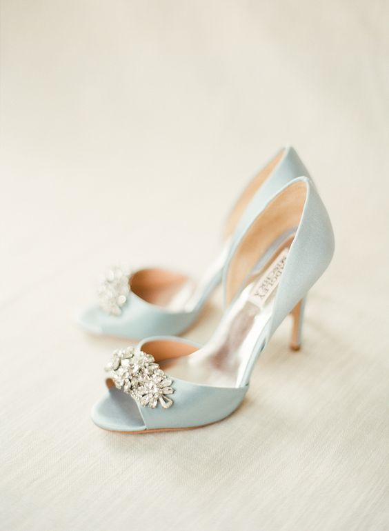 badgley mischka blue bridal shoes photo - 1