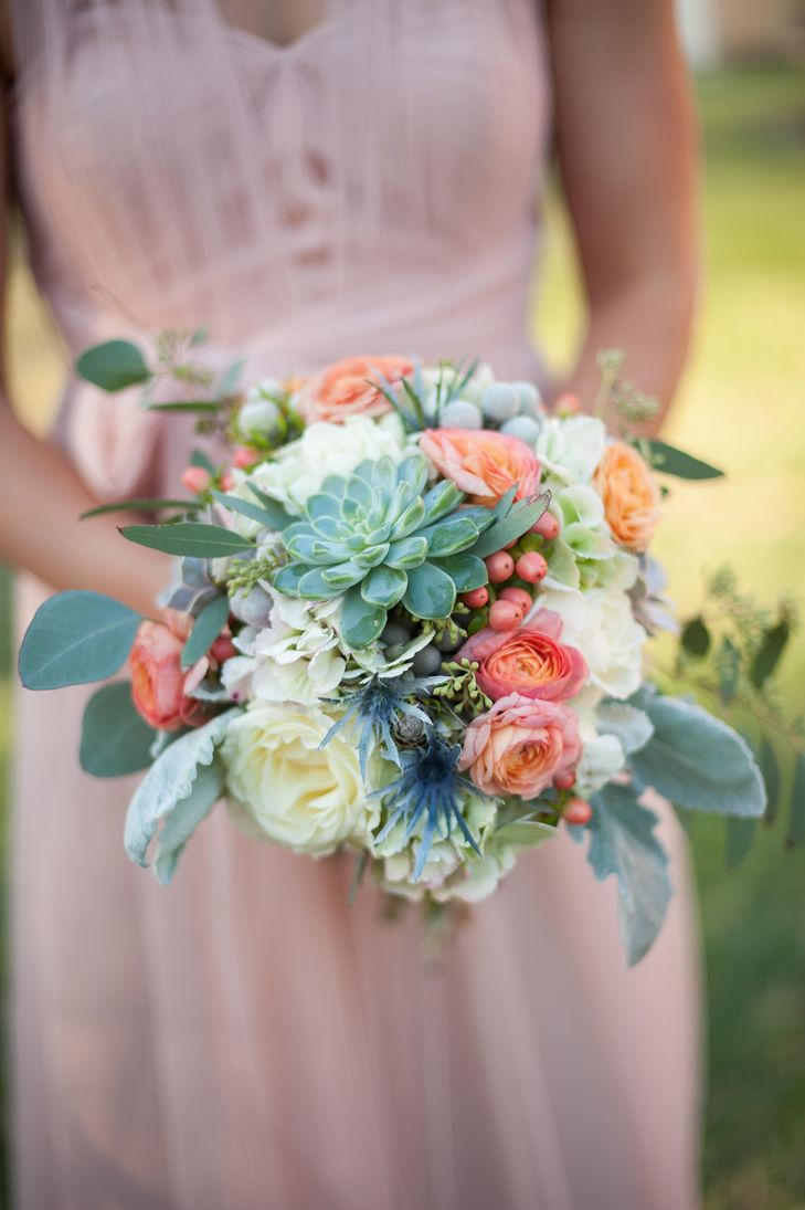 blue and coral wedding bouquets photo - 1