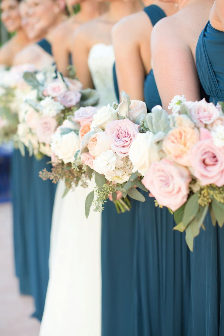 blue and pink wedding bouquets photo - 1
