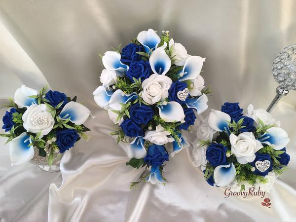 blue calla lily wedding bouquets photo - 1