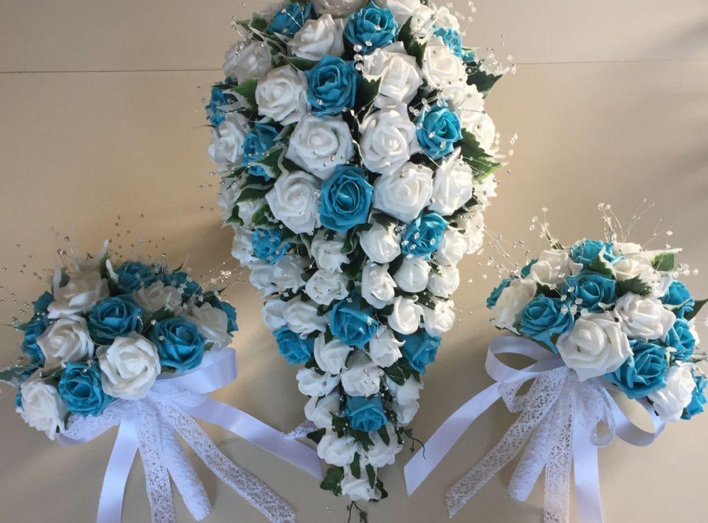 blue flower wedding bouquets photo - 1