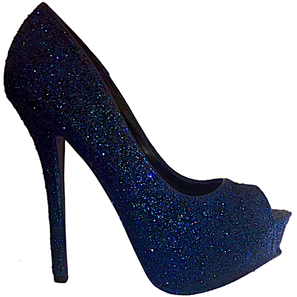 blue glitter shoes for wedding photo - 1