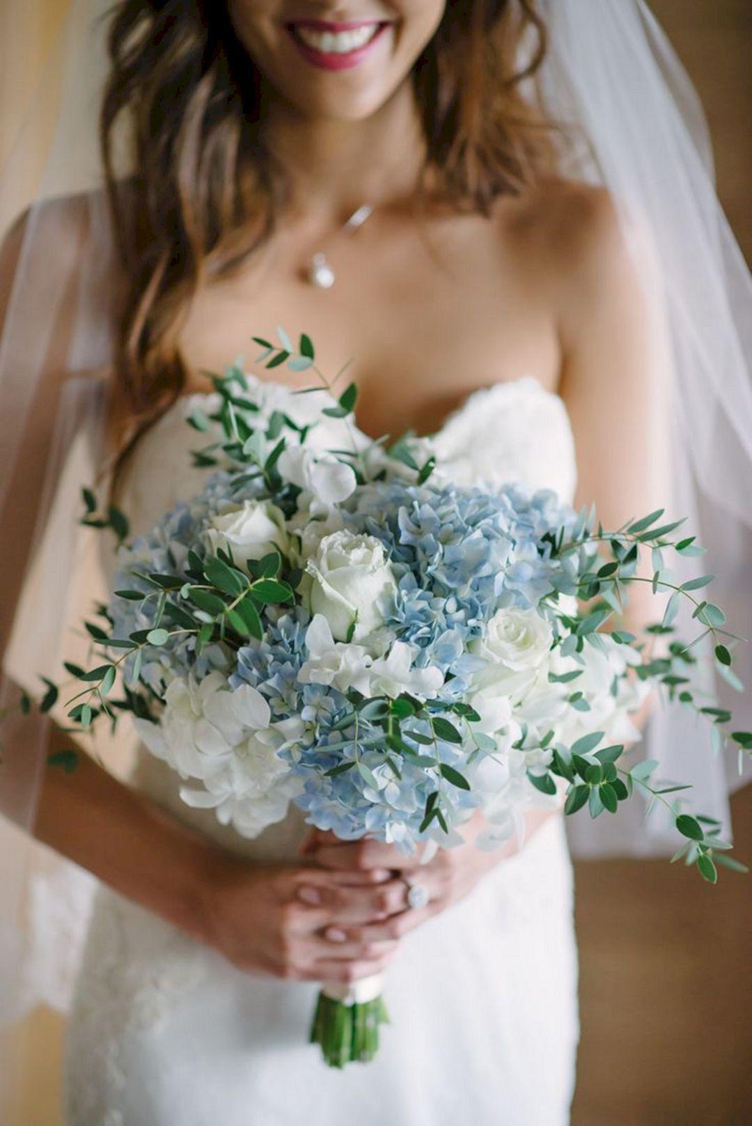 blue hydrangea bouquets wedding photo - 1