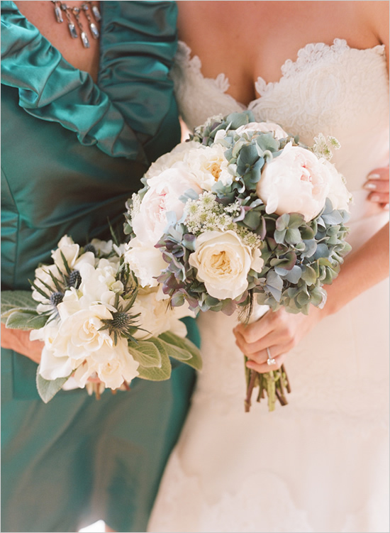 blue hydrangea wedding bouquet photo - 1