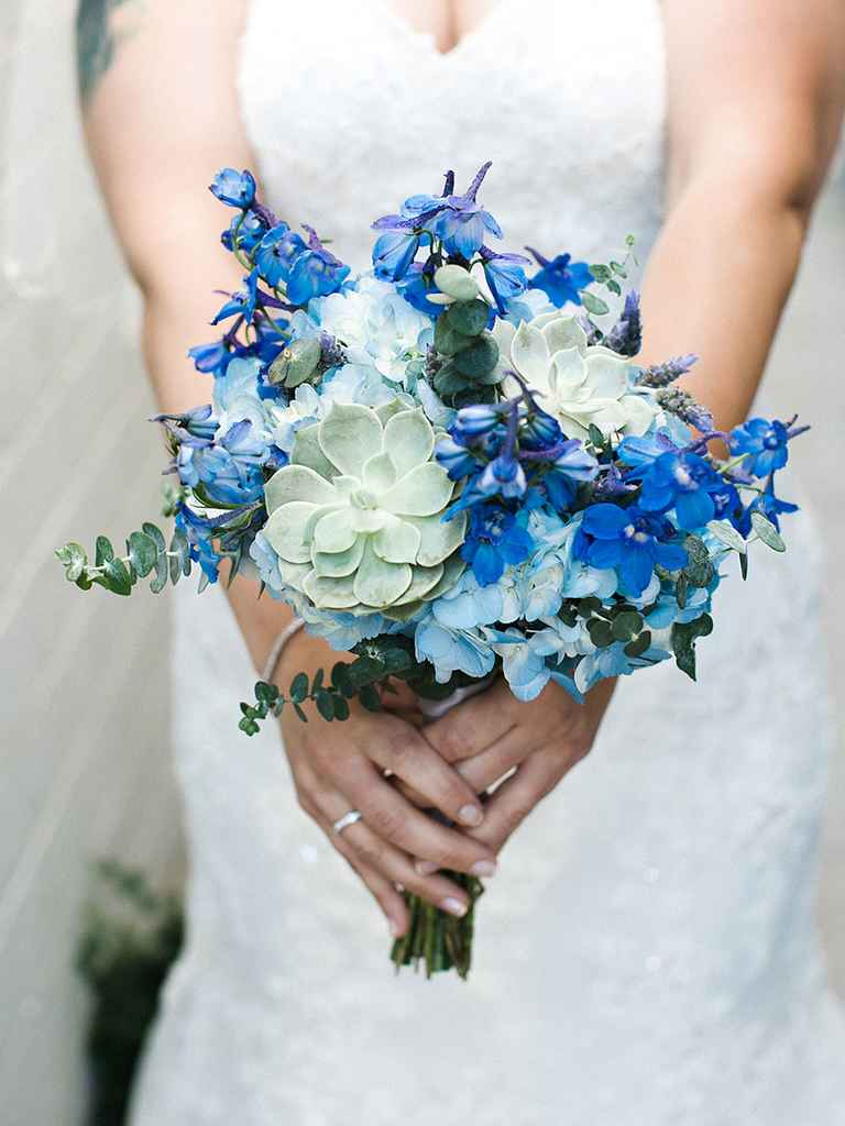 blue hydrangea wedding bouquets photo - 1