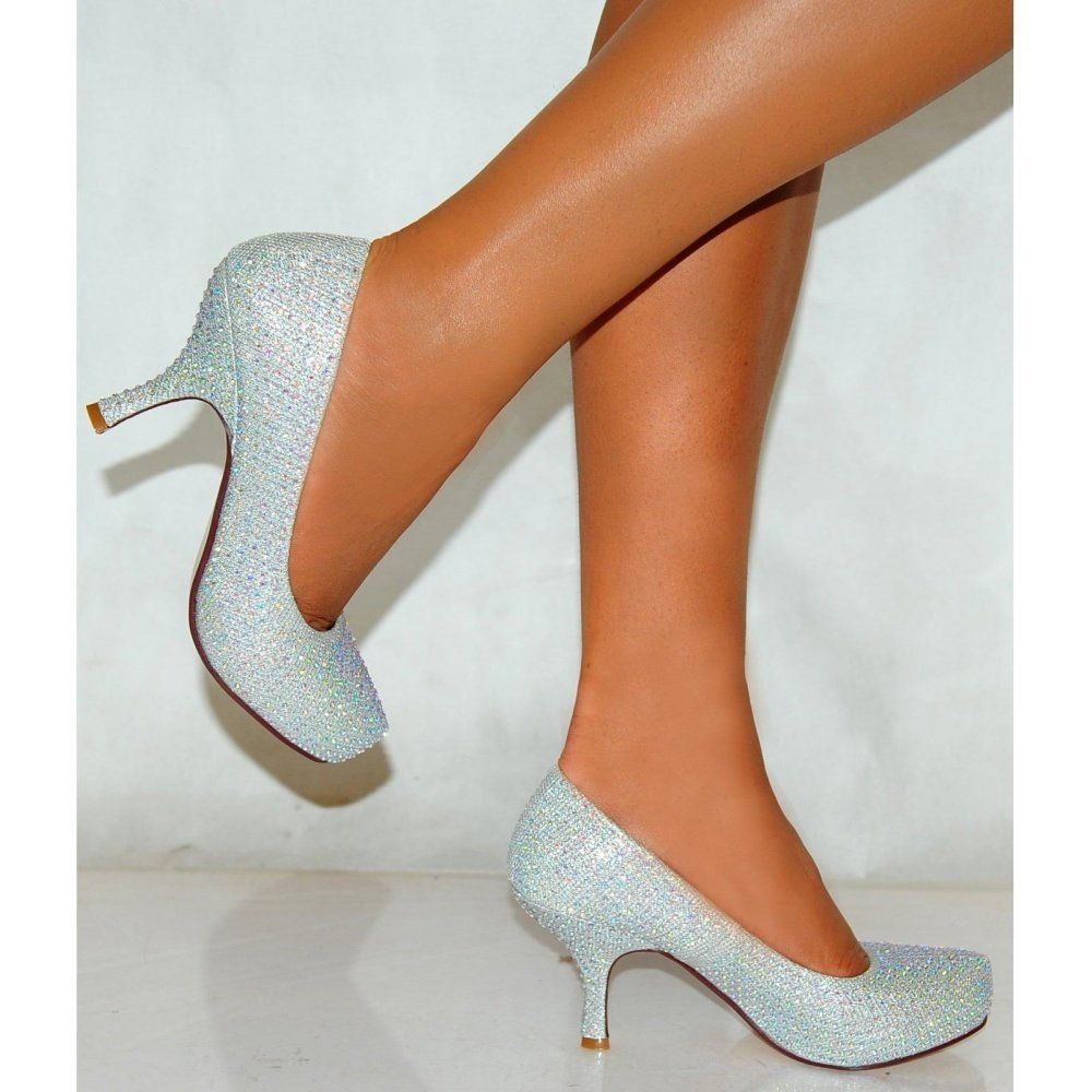 blue low heel wedding shoes photo - 1