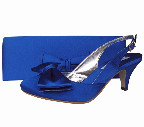 blue wedding shoes for bride low heel photo - 1