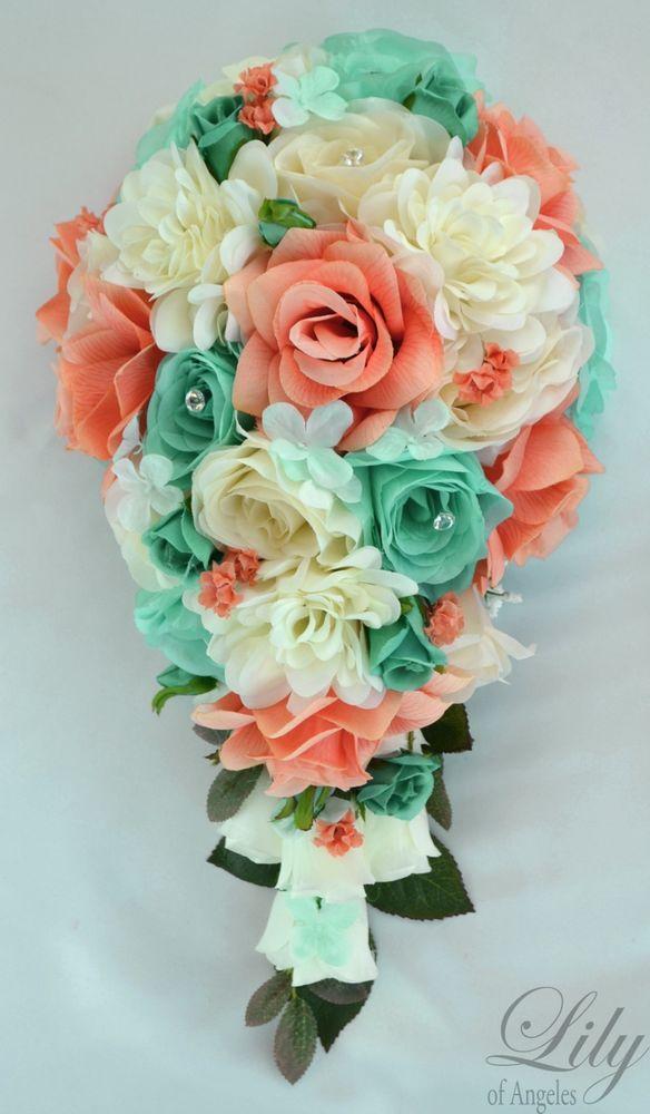 blue white wedding bouquets photo - 1