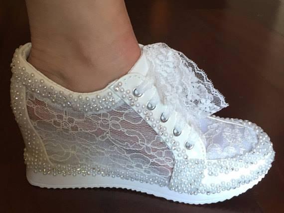 Blush wedge wedding shoes - Florida