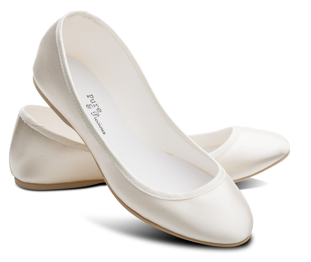 bridal shoes flats ivory photo - 1
