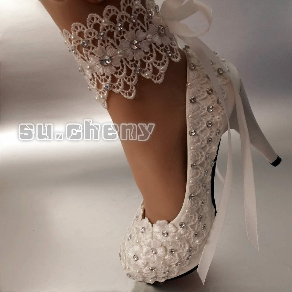 bridal shoes high heels white photo - 1