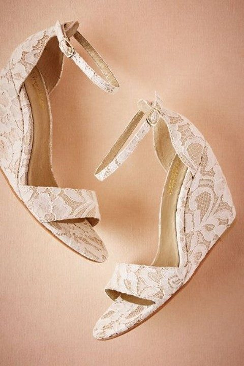 bridal shoes wedges ivory photo - 1