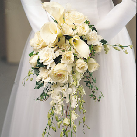 calla lily and roses wedding bouquets photo - 1