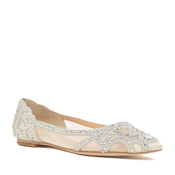 champagne flat wedding shoes photo - 1