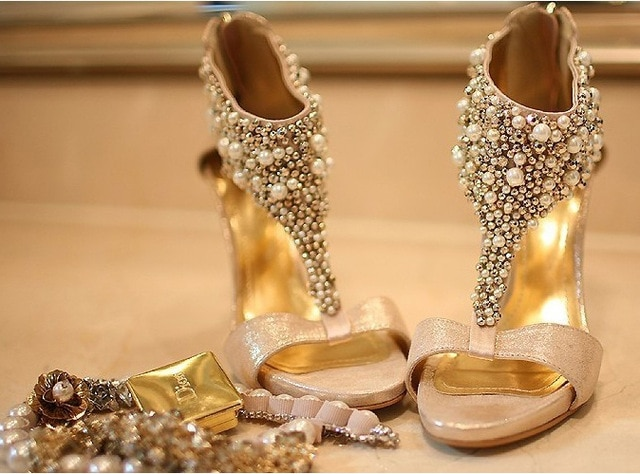 champagne peep toe wedding shoes photo - 1