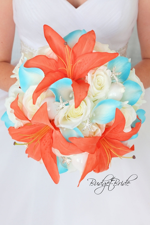 coral and turquoise wedding bouquets photo - 1