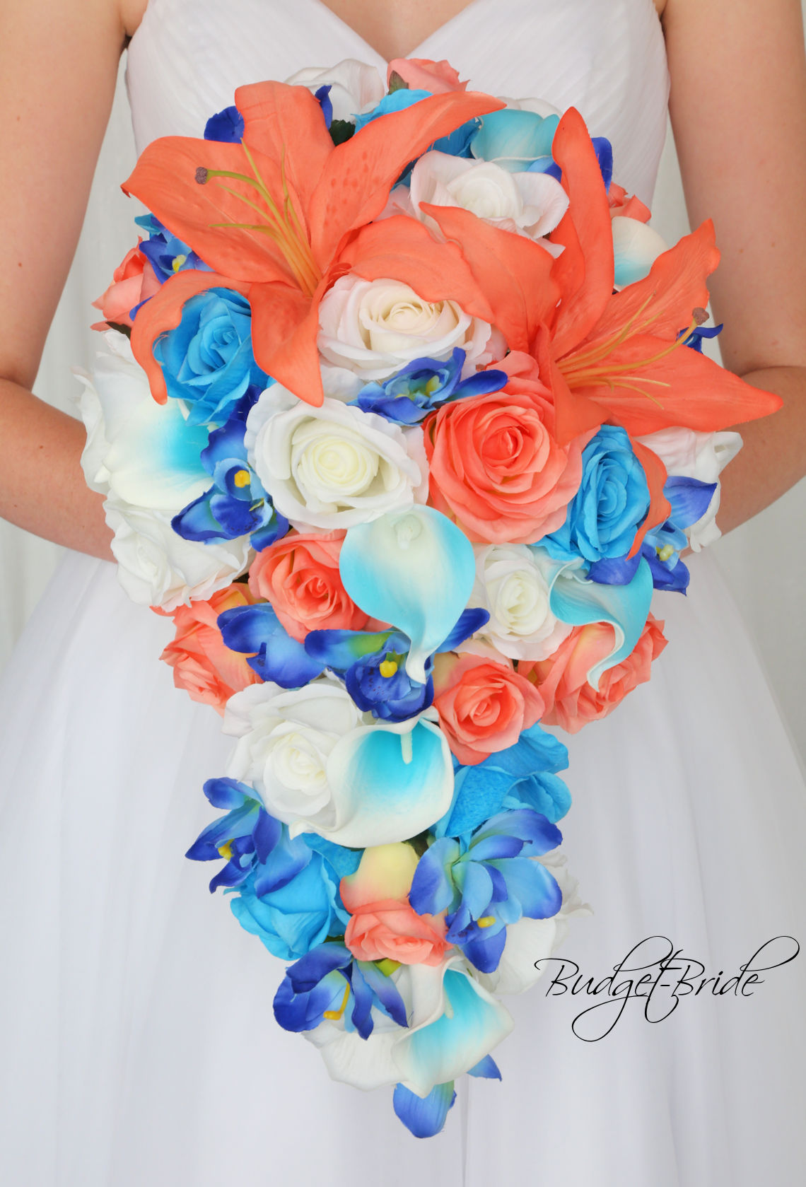 coral colored wedding bouquets photo - 1