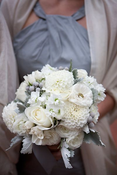 dusty miller wedding bouquets photo - 1