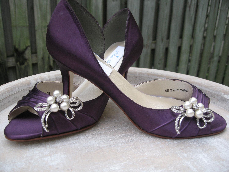 eggplant bridal shoes photo - 1