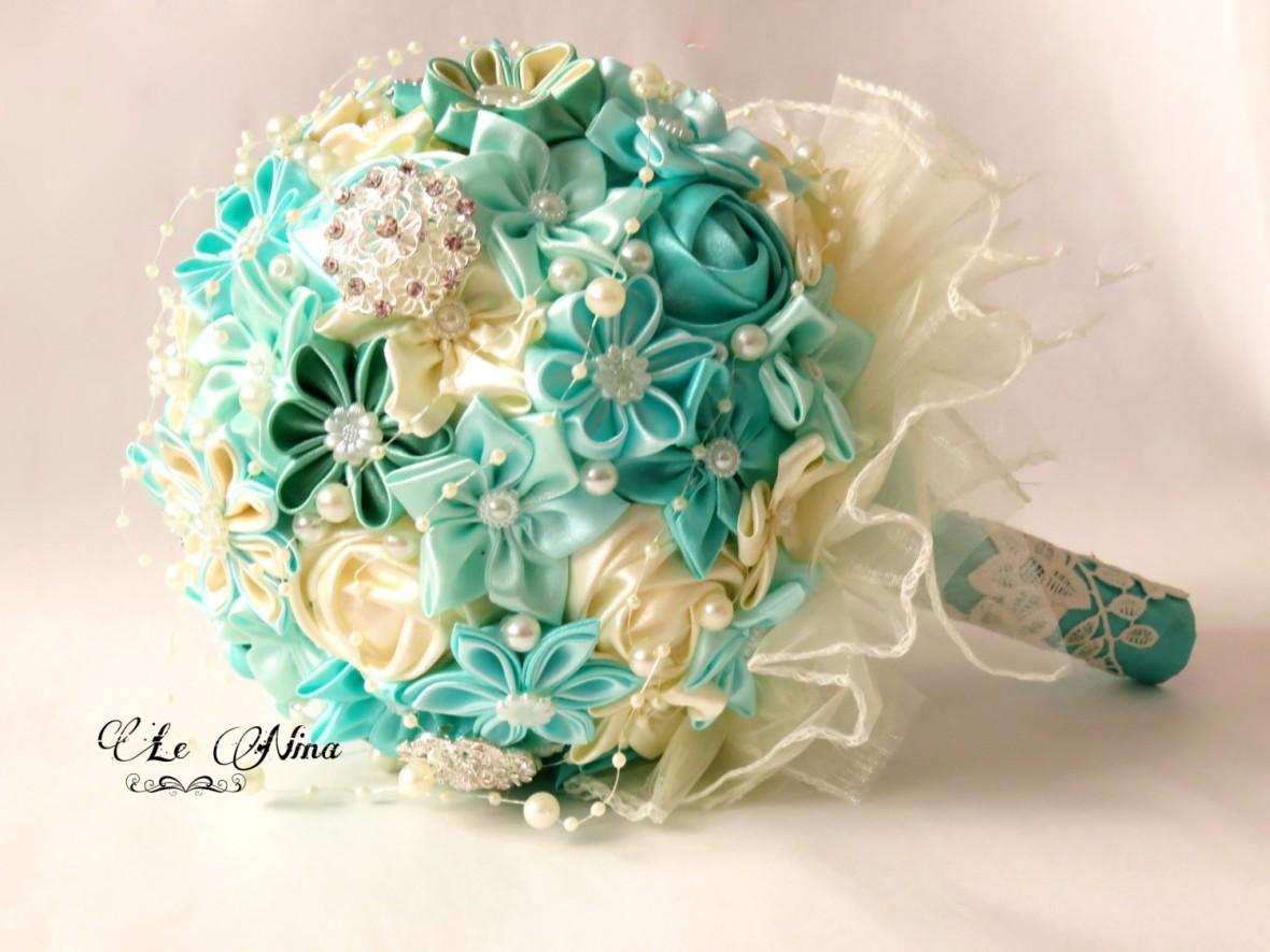 fabric flower wedding bouquets photo - 1