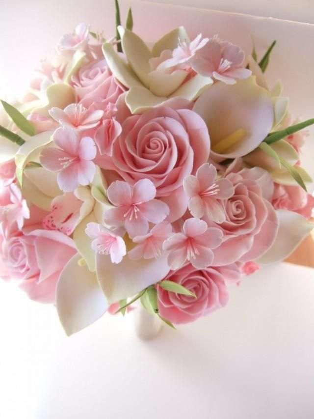 fake lilies wedding bouquets photo - 1