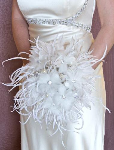 feather bouquets wedding photo - 1