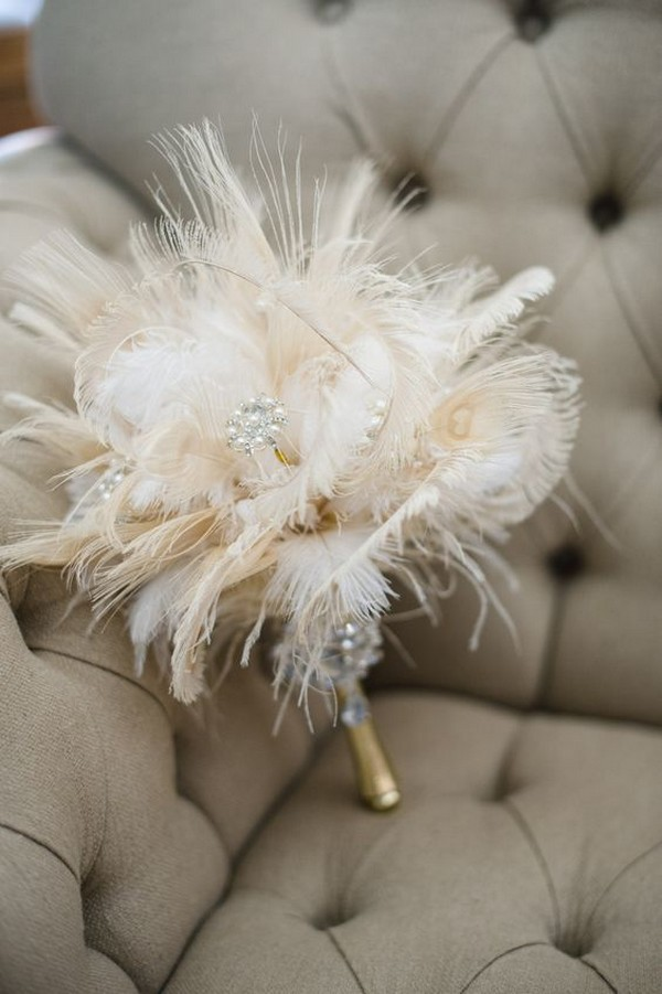 feathers in wedding bouquets photo - 1