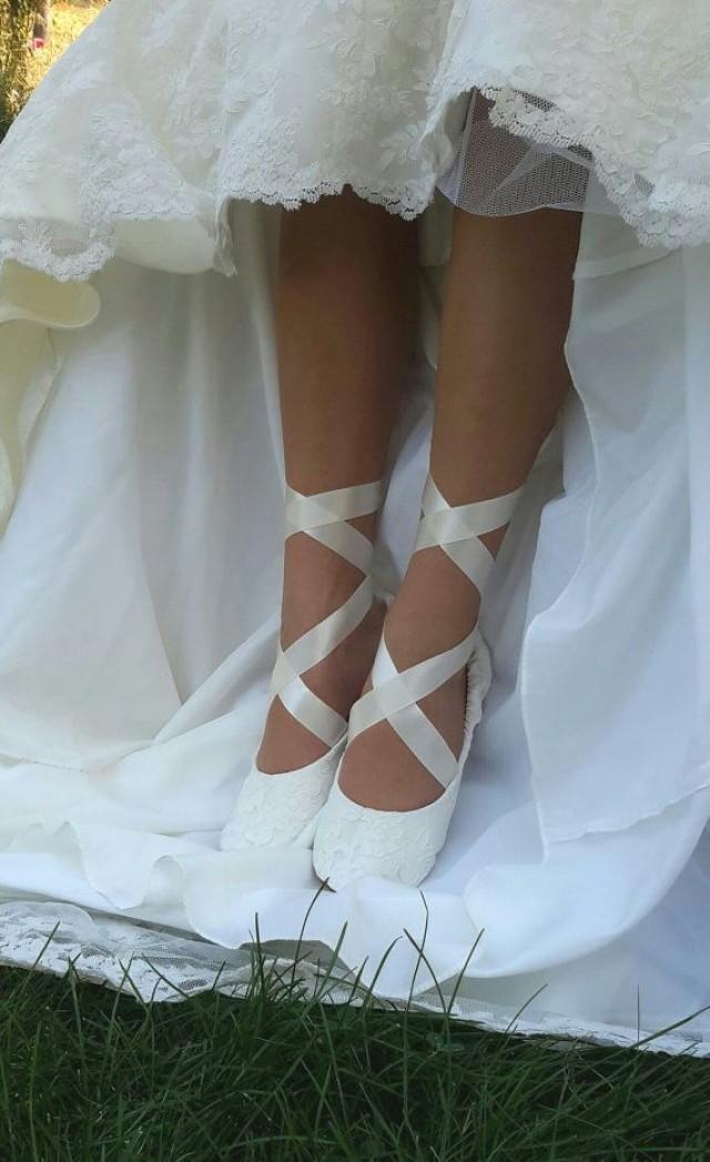 flat bridal shoes ivory photo - 1
