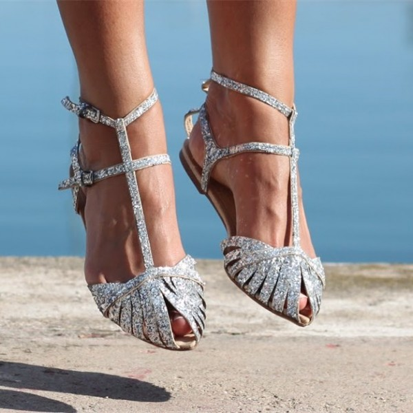 flat silver shoes for wedding photo - 1