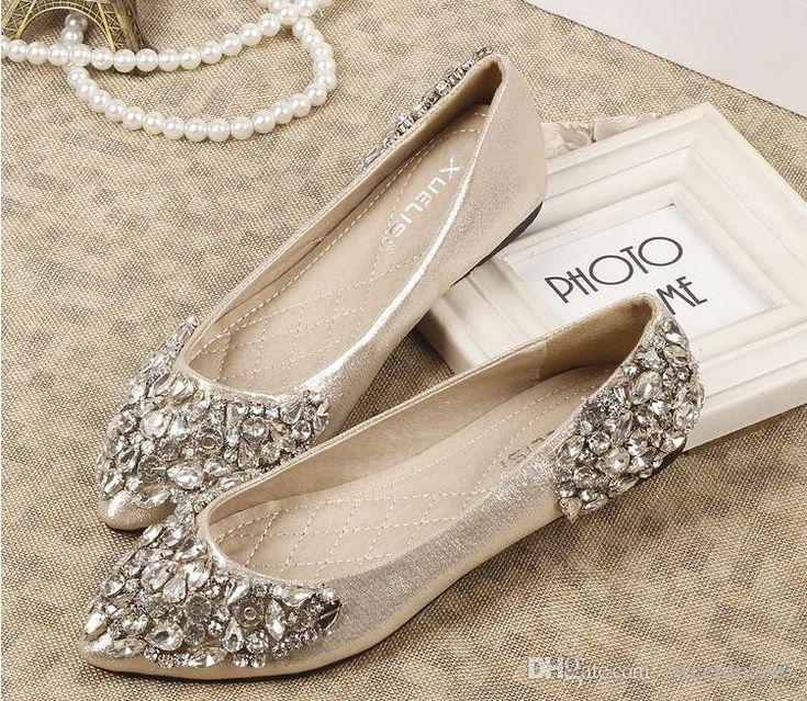 flat wedding shoes with rhinestones photo - 1
