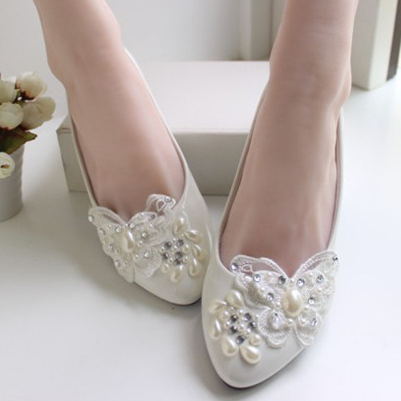 flat white bridal shoes photo - 1