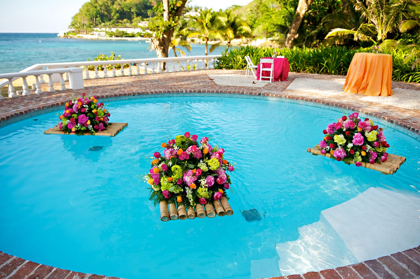 floating flowers for pool wedding photo - 1