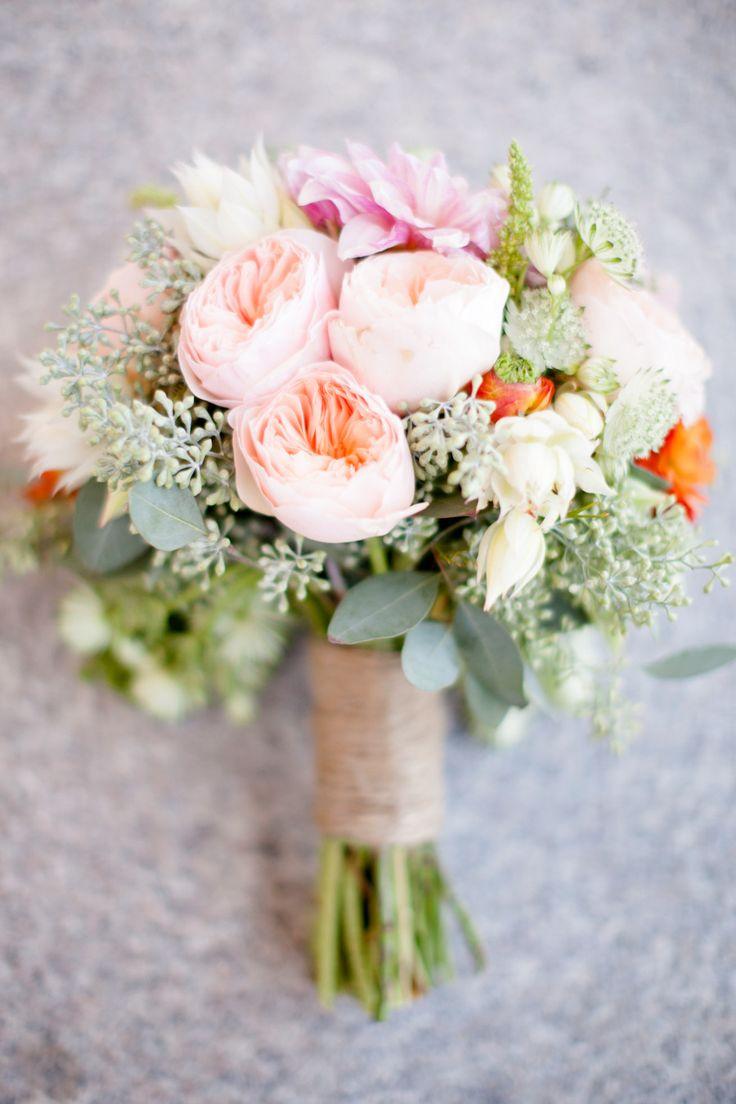 garden rose wedding bouquets photo - 1