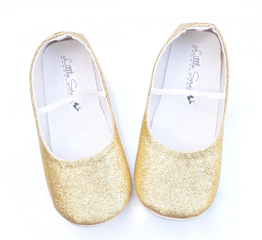 girls gold wedding shoes photo - 1