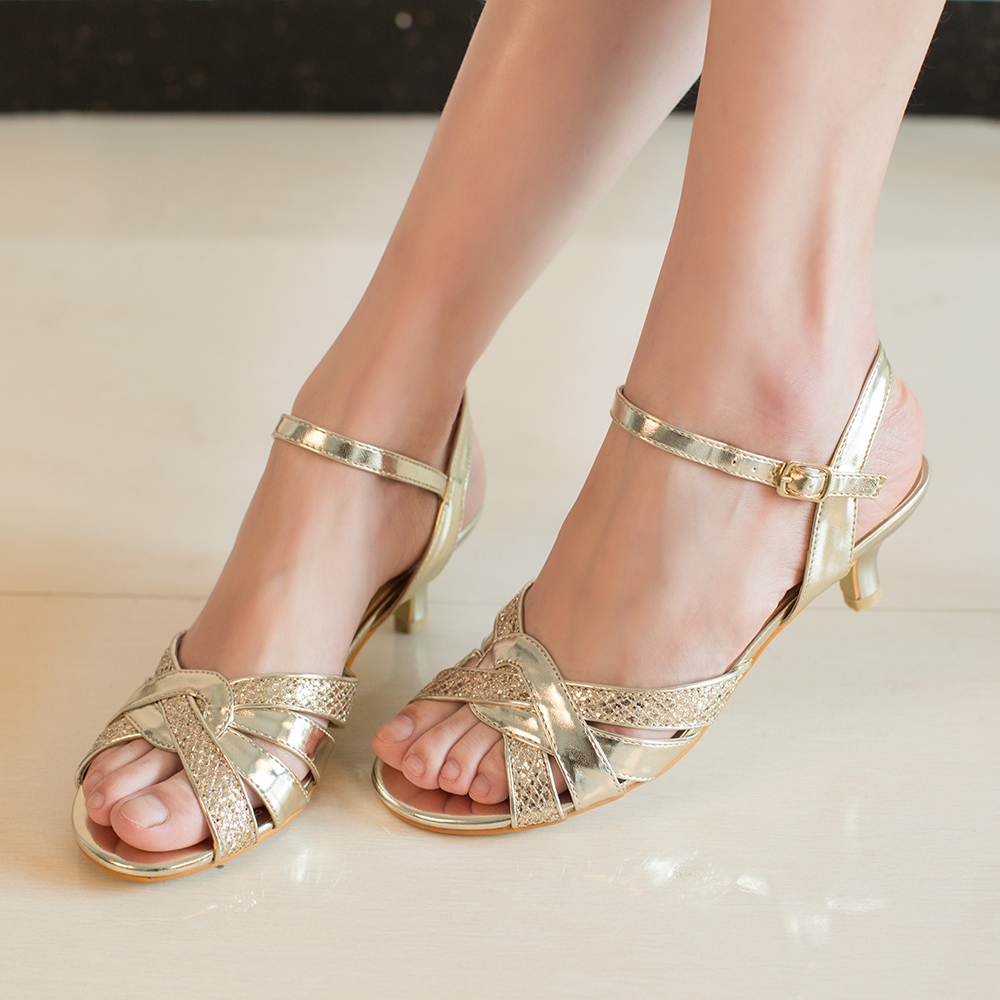 gold kitten heel wedding shoes photo - 1