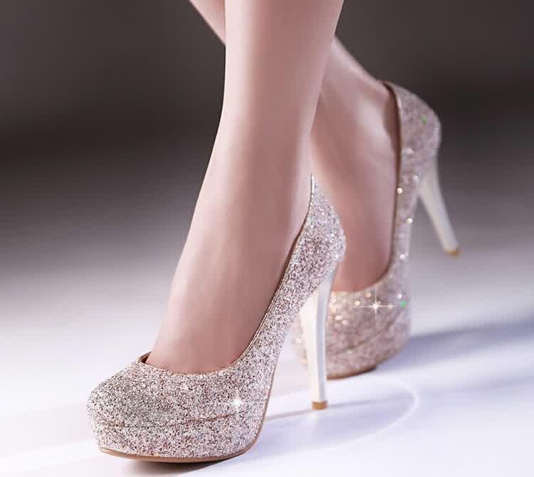 gold sparkle wedding shoes photo - 1
