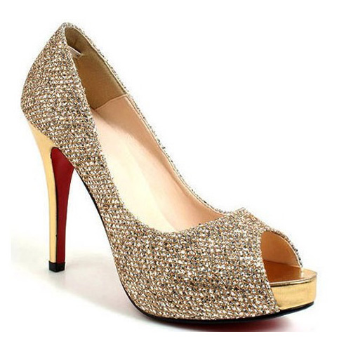 gold wedding shoes for bride photo - 1