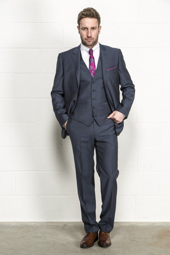 grey suit brown shoes wedding photo - 1