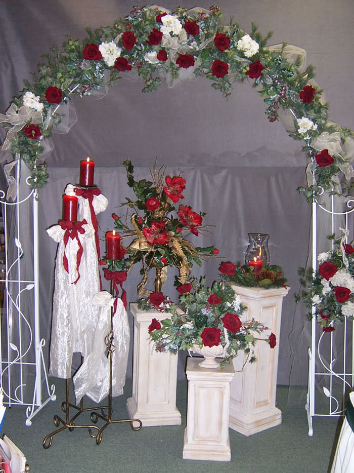 how to decorate a wedding arch with silk flowers photo - 1