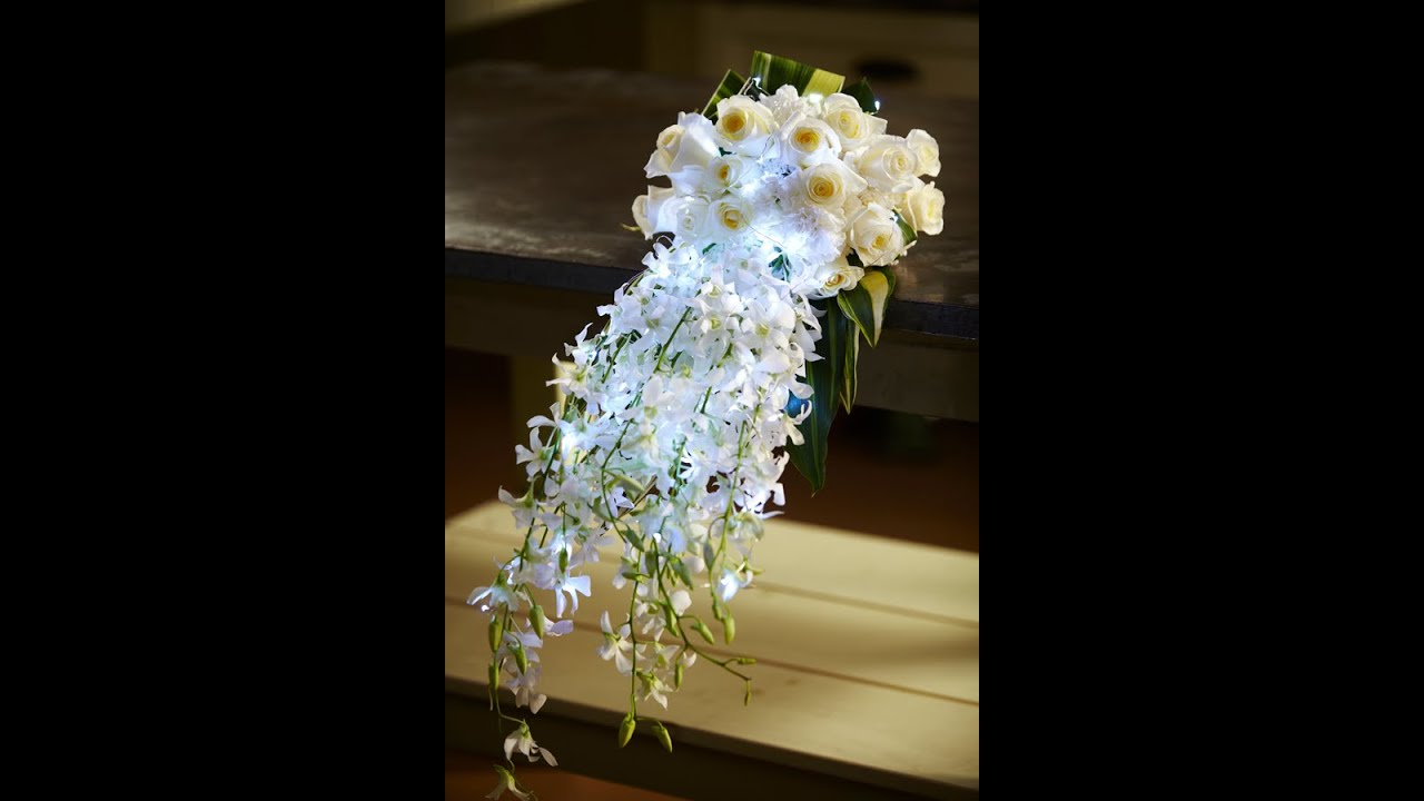 how to make a cascading wedding bouquet with silk flowers photo - 1
