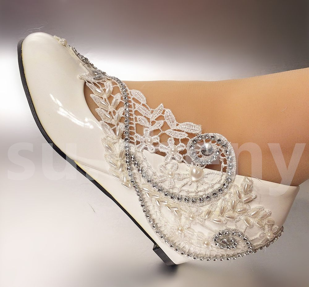 ivory lace wedge wedding shoes photo - 1