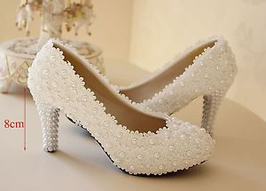 ivory pearl wedding shoes photo - 1