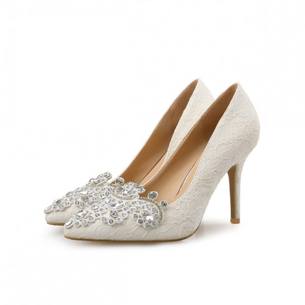 ivory rhinestone bridal shoes photo - 1