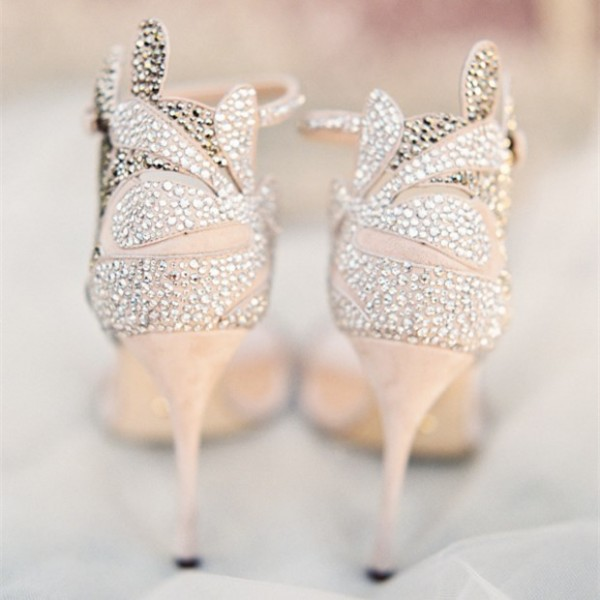 ivory rhinestone wedding shoes photo - 1